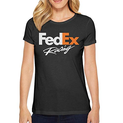 YUIOA Girls Black T-Shirts Tee Cotton FedEx-Racing-Logo- Summer Short Sleeve T-Shirts Tee