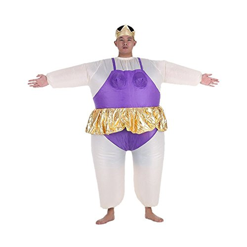 Halloween Costume Inflatable Ballet Ballerina Cosplay Funny Fancy Dress Blow Up Suit Pink Purple (Onesize, Purple) - Inflatable Ballerina