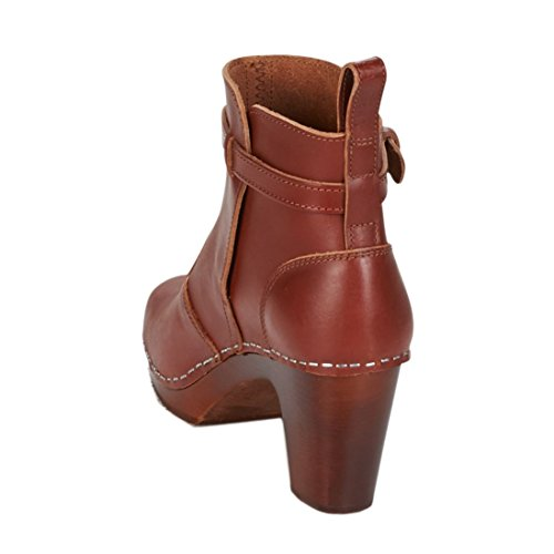 Swedish Marron Heeled High Cognac Cognac Jodhpur Brown Sole Hasbeens Femme Bottines rqEYr