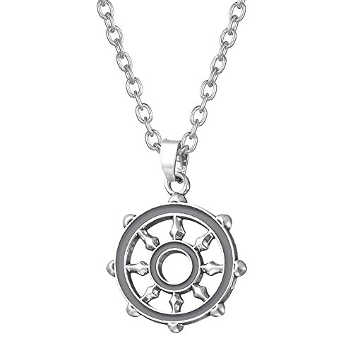 (fishhook Dharma Wheel Buddhist Living in Balance, Right Action Pendant Necklace)