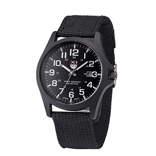 Military Watch,Men Analog Watches Army Filed Tactical Sport Wrist Watches Canvas Strap Calendar Date -