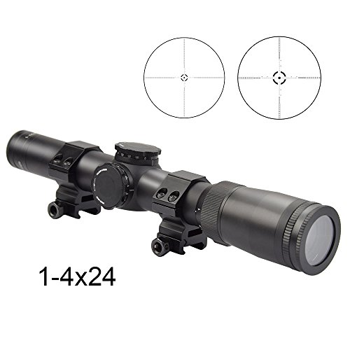 Fyland 1-4x24mm/4x 21mm Riflescope 30mm Tube for 3 Gun Competitions/ CQB/ Hunting with Scope Rings,Matte Black