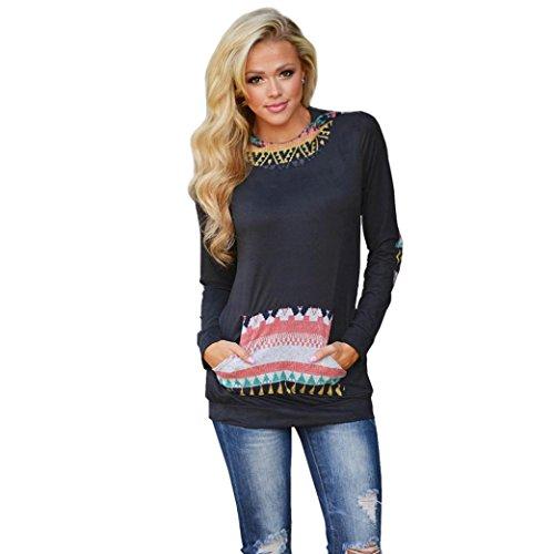 Franterd Womens Geometric Printing Pocket Hoodie Pullover Blouse (L)