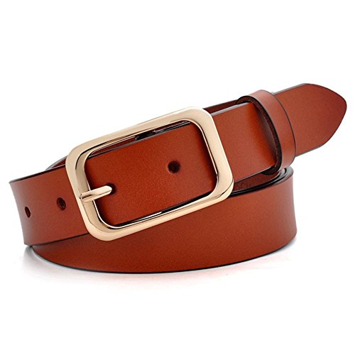 s for Women, Genuine Leather Womens Belts with Gold Buckle, 105CM Brown Belt ()