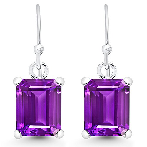 (Sterling Silver Emerald-Cut Genuine Amethyst Dangle Earrings (5.0)
