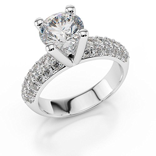 Solitaire Round Cut Diamond 1.85CT 14K White Gold Bridal Engagement Wedding Jewelry Ring Size 4-11