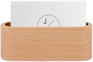 Amecty Visitenkartenhalter aus Holz Holz für Schreibtisch-Visitenkartenhalter Desktop-Visitenkartenständer für Büro, Tischablage - Hellgelb