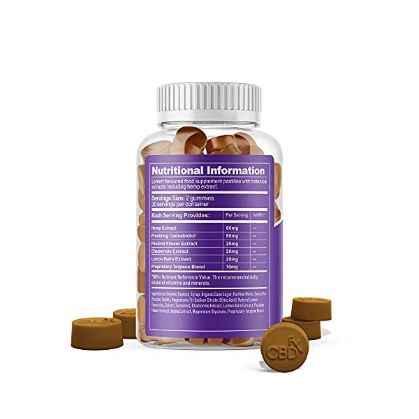 CBDfx Chamomile & Passionflower Sleep CBD Gummies (60 Gummy Bottle) – 1500mg CBD