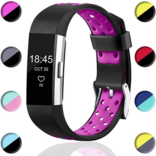 Wepro Bands Compatible with Fitbit Charge 2 HR for Men Women Girls Kids, Replacement Accessory with Air Holes, Small, Black on Plum
