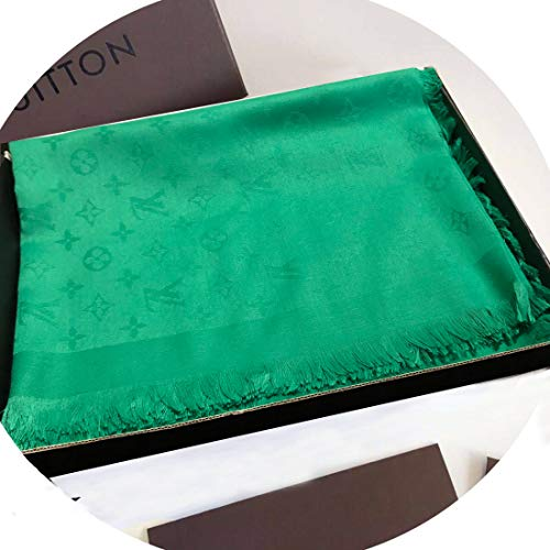 (SCOBEE Fashion Luxury Cashmere/Wool Scarf Solid Green Warm Large Square Scarves for Women Men)