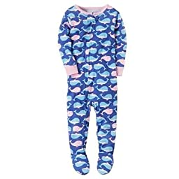 Carter\'s Baby Girls\' 1-Piece Snug Fit Cotton Pajamas (12 Months, Blue Whales)