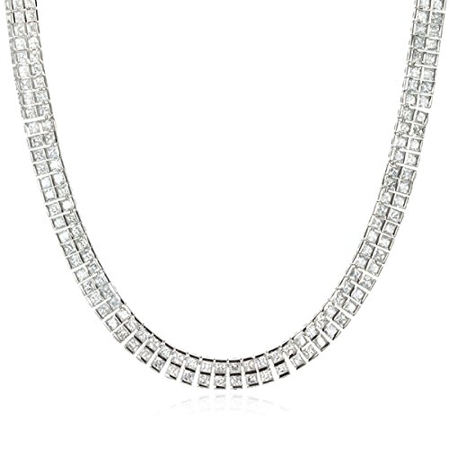 Rhodium Plated Silver Classic White Cz Necklace-18'' by CHELINE