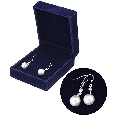 South Sea Shell Drop Pearl Earrings For Women Hook Brass Dangle Earrings Pack With Velvet Box