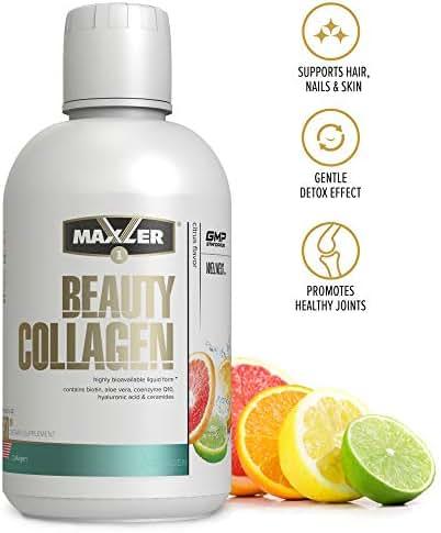 Maxler Beauty Collagen Liquid - Hair Nails Skin Revitalization Liquid Collagen Hydrolysate & Biotin Supplements - Liquid Biotin and Collagen Drink with Aloe Vera, Elderberry - Citrus 15.2 fl Oz