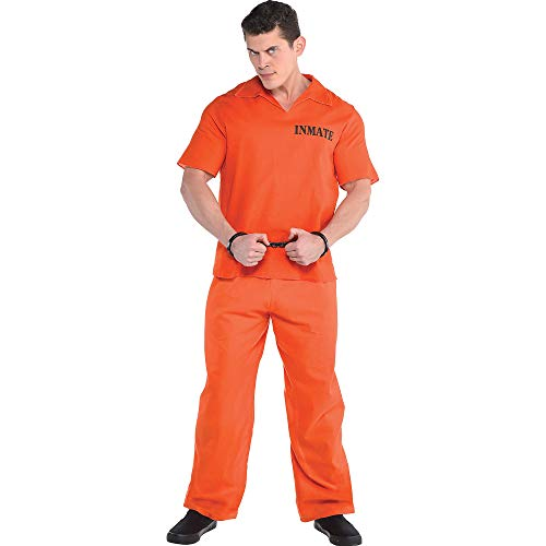 AMSCAN Jail Bird Prisoner Halloween Costume for Men, Standard, with Included Accessories -