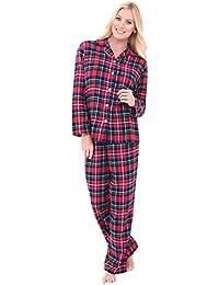 Womens Plaid Flannel Pajamas, Long Cotton Pj Set
