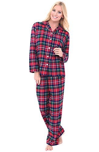 Alexander Del Rossa Womens Flannel Pajamas, Long Cotton Pj Set, Medium Red and Green Christmas Plaid (A0509Q19MD)