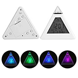 EBTOOLS LED Color Changing Triangle Clock Digital LCD Pyramid Alarm Clock Thermometer Calendar Night Light Desktop Table Clock