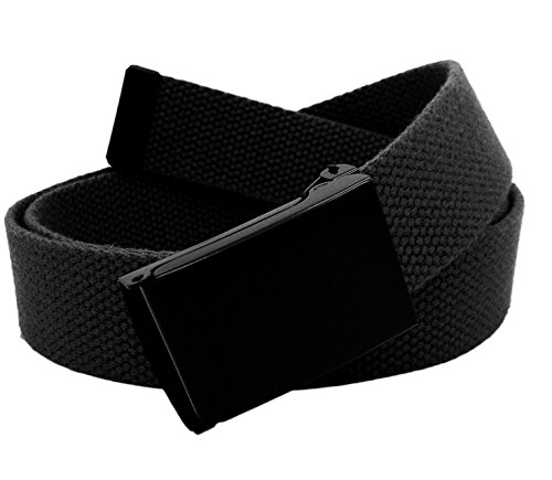 Boy's School Uniform Black Flip Top Military Belt Buckle with Canvas Web Belt Large Black