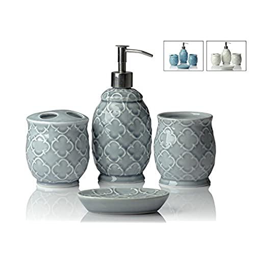 Charmant [Motheru0027s Day Gift] Designer 4 Piece Ceramic Bath Accessory Set | Includes  Liquid Soap Or Lotion Dispenser W/ Toothbrush Holder, Tumbler, ...