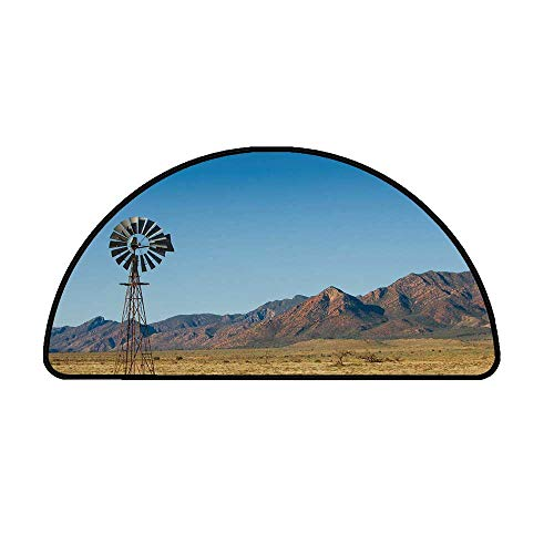 Windmill Decor Comfortable Semicircle Mat,Flinders Ranges South Australia Mountains Barren Land Summer Decorative for Living Room,11.8