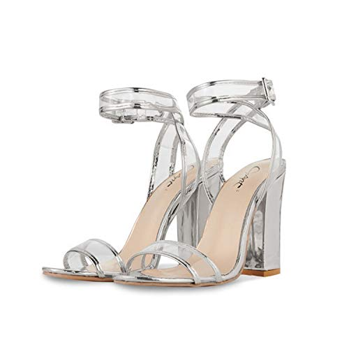 JSUN7 Women's Shiny Sandals with Clear Ankle Strap Sexy Open Toe Summer Shoes Strappy High Chunky Heels Silver (Shoe Chunky Womens Heel Sexy)