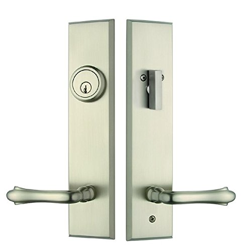 Rockwell Verano Entry Door Lock Handle set with Bourne Lever in Brushed Nickel Finish, Durable commercial & residential, door hardware, door handles, locks