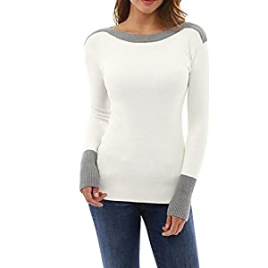 Women Tops, Gillberry Womens O Neck Fight Color Long Sleeve Jumper Sweaters Blouse Tops (L, White)