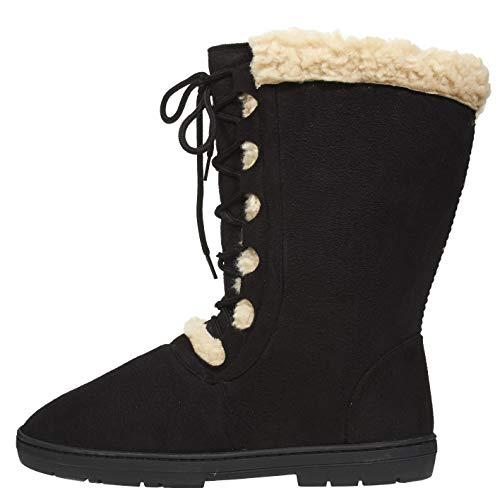Chatties Women's Winter Boots Size 9-10 with Lace Up Front and Fur Trim Casual Mid-Calf Shoes Black ()