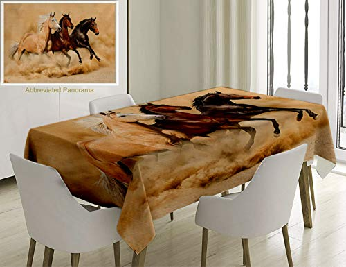 (Unique Custom Cotton And Linen Blend Tablecloth Animal Decor Collection Three Horse Running In Desert Storm Mythical Mystical Messenger Animals In HabTablecovers For Rectangle Tables, 78 x 54 Inches)