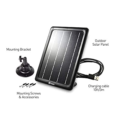 Swann Security Outdoor Solar Panel for Smart Security Camera Charger with Mounting Bracket and USB Cable, Solar Panel for Security Camera (SWIFI-Solar-GL) : Camera & Photo
