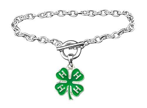 4-H Club Clover Green Silver Toggle Bracelet Gift Award Prize Kids - Clover 4 H