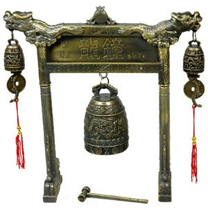 ORIENTAL Furniture Unique Anniversary Guy Him Man, 8-Inch Tao Dragon Arch Bell Gong Chime