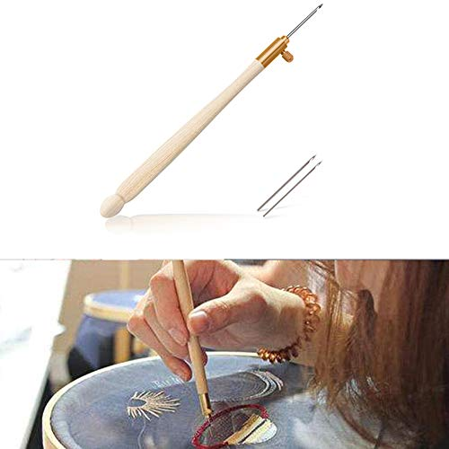 Handle Needle - Aeakey Wooden Handle Tambour Crochet Hook with 3 Needles French Crochet Embroidery Beading Hoop Sewing Tool Set DIY Craft
