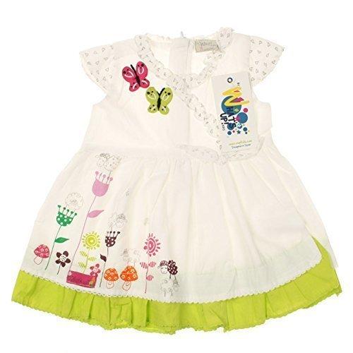 WSP KIDS - Niñas bebé Vestido De Verano con Mangas japonesas WONDERLAND en blanco - algodón