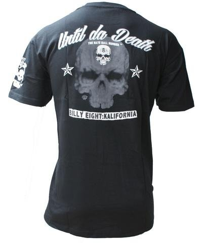 Until Da Death - Billy Eight - Mens T-Shirt - Black - Biker, Rockabilly, Rocker