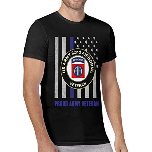 Men's T-Shirt US Army Veteran 82nd Airborne American Flag Cotton Short Sleeve Comfy Tops Black ()