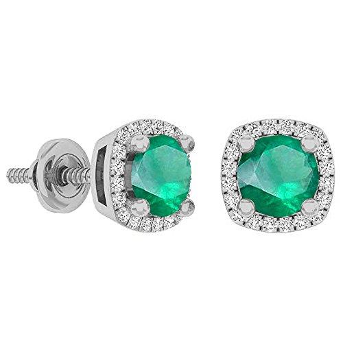 Dazzlingrock Collection 10K 5 MM Each Gemstone Ladies Halo Stud Earrings, White Gold