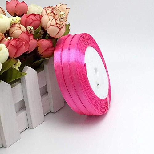1 Pc 25 Yard Satin Ribbon 1/4 inch Satin Ribbon for Sewing Single Face Satin Ribbon 25 Yards/Roll Color Gift Packing Wedding Decor, DIY Dress, Flower, Postcard, Hairband, Wrapping (Hot Pink)