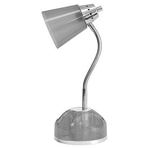 Desk Lamp with Rotating Organizer Base including Built-In Electrical Outlets Bulb Included Grey