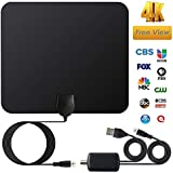TV Antenna,2018 Newest Best Amplified HD Digital TV Antenna 80 Miles Range 4K 1080p HD Freeview Local Channels w/Detachable Signal Amplifier 16.5ft Longer Coax Cable