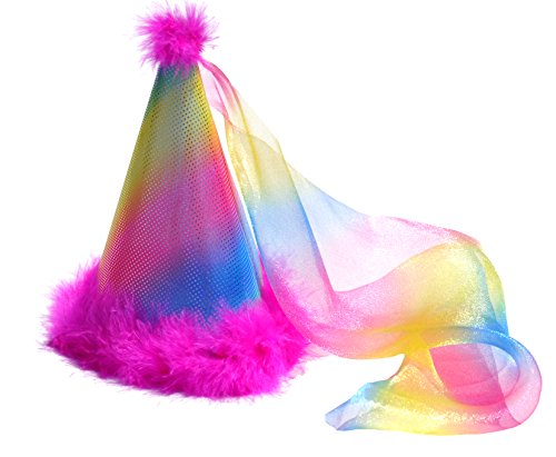 Birthday Party Hat Princess Rainbow Pink Boa Feathers (Cupcake Fairy Halloween Costume)