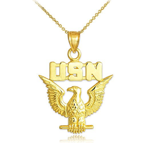 US Navy Eagle Solid 10k Yellow Gold Pendant Necklace, 18