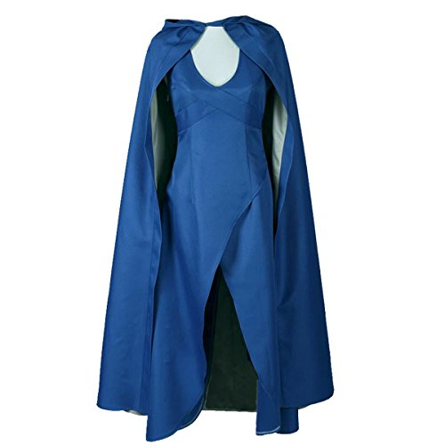 Angelaicos Womens Top Design Cosplay Show Costume Dress Cloak (M) Blue