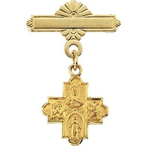 4 Way Cross Baptismal Pin - 14K Yellow Gold 4-way Cross Baptismal Pin