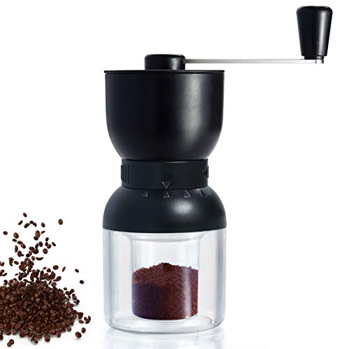 Manual Coffee Grinder, Ceramic Conical Burr Mill With Adjustable 2 Jars Setting, Black Portable Hand Crank Coffee Grinder For Travel, Camping. Good For Espresso, French Press, Cold & Turkish Brew