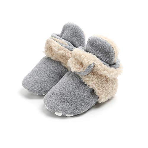 ENERCAKE Baby Boys Girls Cozy Fleece Booties with Non-Slip Bottom Warm Winter Slippers Infant Crib Shoes(0-6 Months Infant,B-Light Grey/Khaki) -