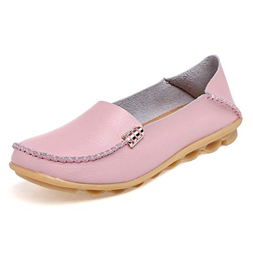 Flats Women Genuine Leather Flats Shoes Handmade Comfort Loafers Leisure Women's Shoes Slipony,Pink,6
