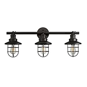 Globe Electric 59115 Beaufort 3-Light Wall Sconce Finish, Removable Cage Shade, Oil Rubbed Bronze