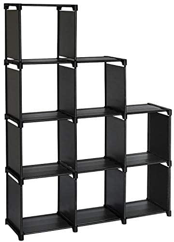 TOPNEW 9 Cube Storage Shelves DIY Closet Organizers and Storage Black Cube Bookcase